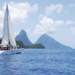 CASTRIES, ST LUCIA boat and mountains