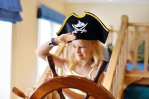 Child pretending to be a pirate