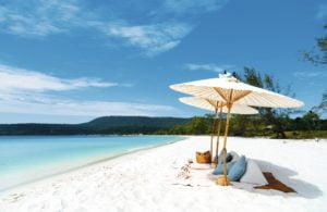 Cambodia beach with parasols