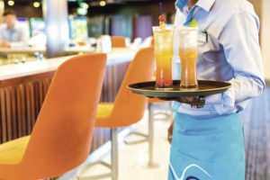 Drinks on a platter